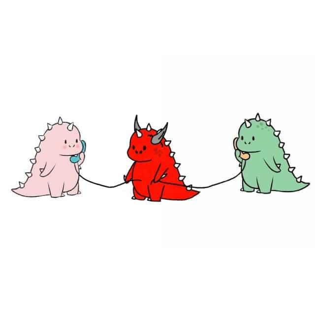 Gambar Dinosaurus Couple Merah